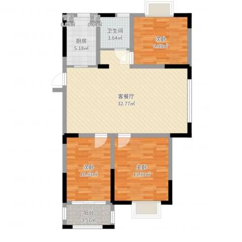 紫金名苑3室2厅3卫1厨99.00㎡户型图