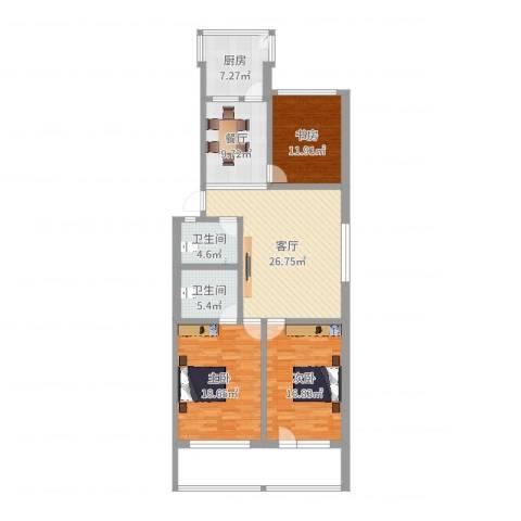 兴隆山庄3室2厅2卫1厨147.00㎡户型图