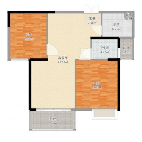 �房翰林珑城2室2厅1卫1厨121.00㎡户型图