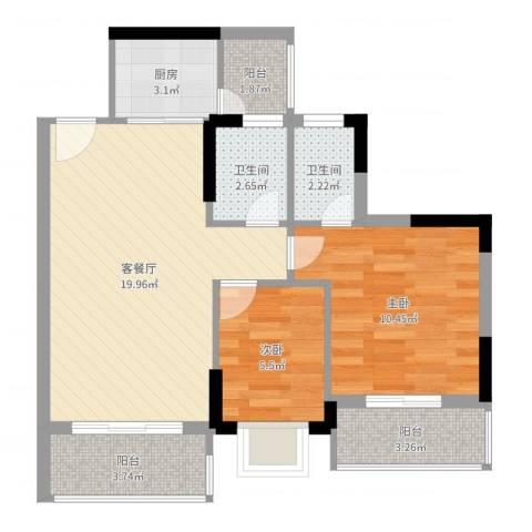 碧桂园荔园2室2厅2卫1厨66.00㎡户型图