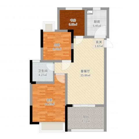 时代广场二期3室2厅1卫1厨91.00㎡户型图