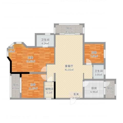 星苏花园3室2厅2卫1厨139.00㎡户型图