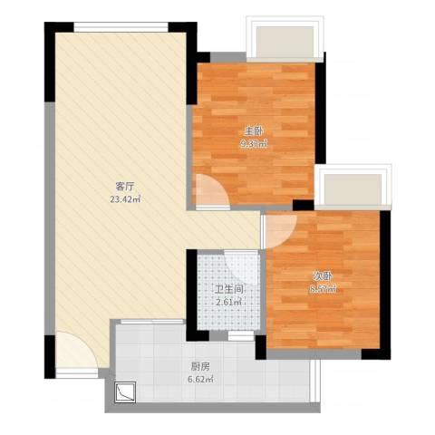 极鼎城市经典2室1厅1卫1厨63.00㎡户型图