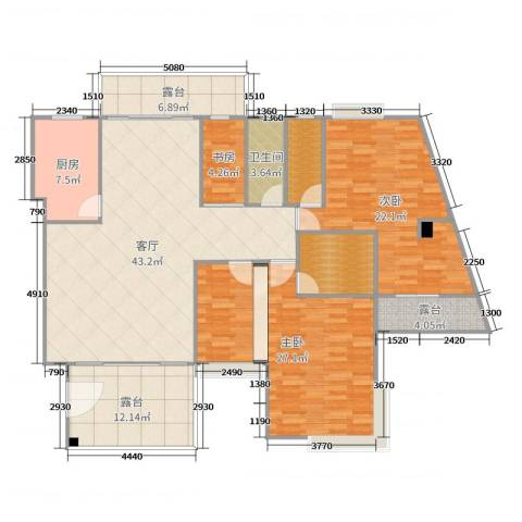 绿韵花都3室1厅1卫1厨175.00㎡户型图