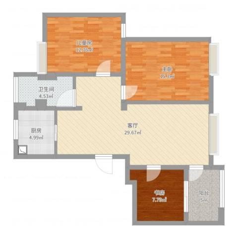 湖东景园3室1厅1卫1厨100.00㎡户型图