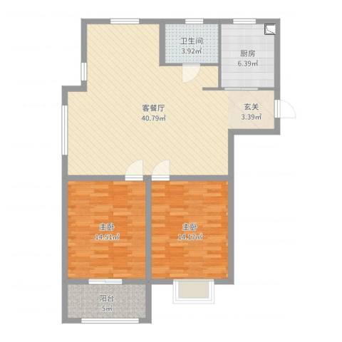 登达新天地2室2厅1卫1厨106.00㎡户型图