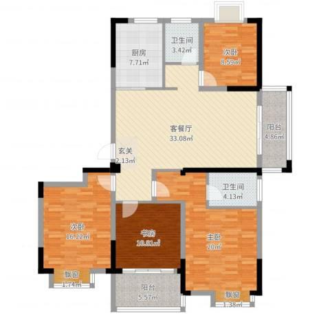 银洲皇家花园二期皇家学苑4室2厅2卫1厨143.00㎡户型图