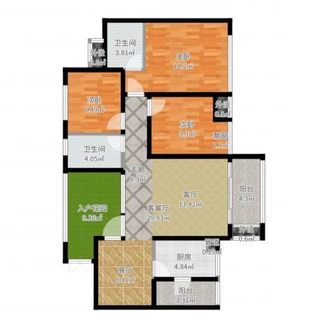 鲁能星城十二街区3室2厅2卫1厨115.00㎡户型图