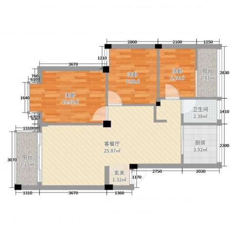 雅戈尔东湖花园3室2厅1卫1厨78.00㎡户型图