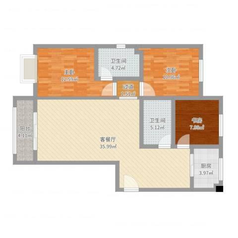 汇通新城3室2厅2卫1厨109.00㎡户型图