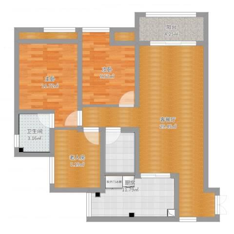 金辉苹果城3室2厅1卫1厨98.00㎡户型图