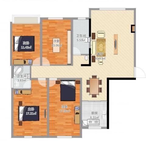 正和城4室1厅2卫1厨148.00㎡户型图