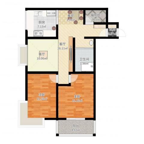 幸福香寓2室1厅1卫1厨88.00㎡户型图