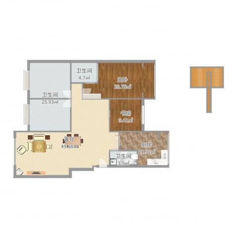 王府花园2室1厅3卫1厨165.00㎡户型图
