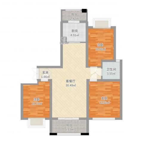国际花都天香苑3室2厅1卫1厨102.00㎡户型图