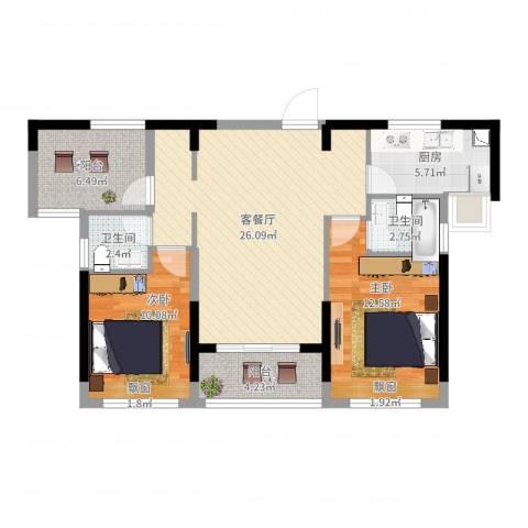 深基天海城市花园2室2厅2卫1厨88.00㎡户型图