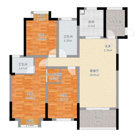 银洲皇家花园二期皇家学苑3室2厅2卫1厨126.00㎡户型图