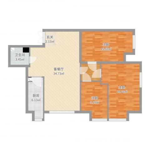 K2・京南狮子城3室2厅1卫1厨114.00㎡户型图