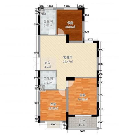 祥和花园3室2厅2卫0厨110.00㎡户型图