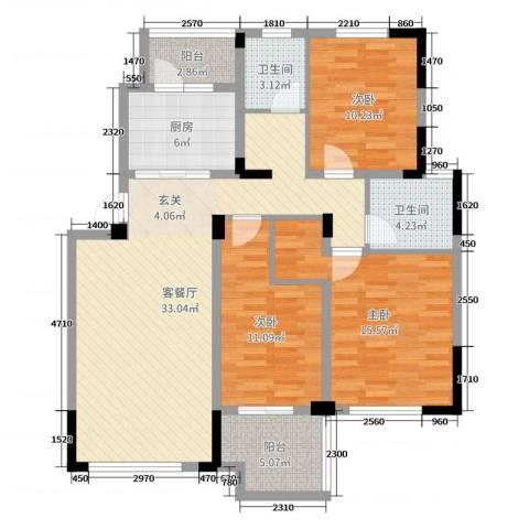 国信上城3室2厅2卫1厨114.00㎡户型图