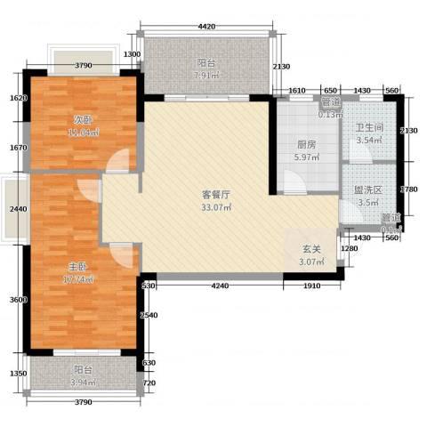 国奥天地2室2厅1卫1厨109.00㎡户型图