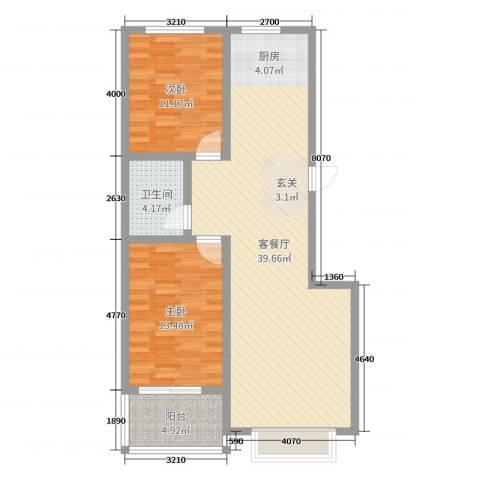万宏俪城2室2厅1卫0厨92.00㎡户型图
