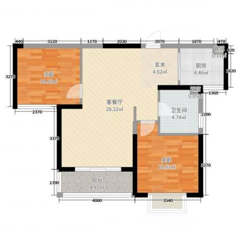国奥天地2室2厅1卫1厨79.00㎡户型图