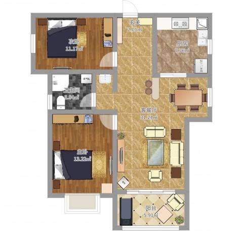 文华苑2室2厅1卫1厨91.00㎡户型图