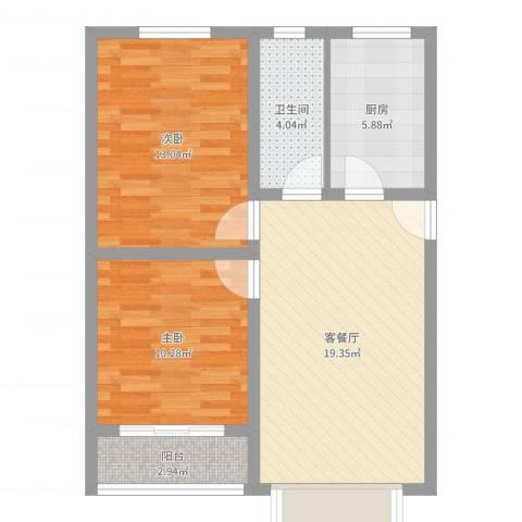 万西苑2室2厅1卫1厨69.00㎡户型图