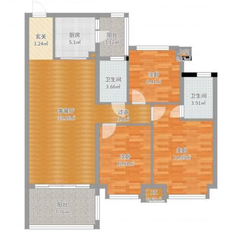 茵华花园3室2厅2卫1厨115.00㎡户型图