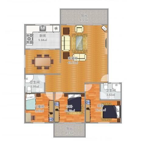 岳北花园3室2厅2卫1厨140.00㎡户型图