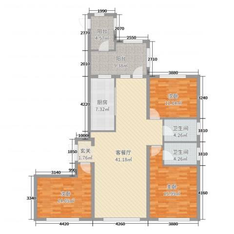 金安向日葵3室2厅2卫1厨162.00㎡户型图
