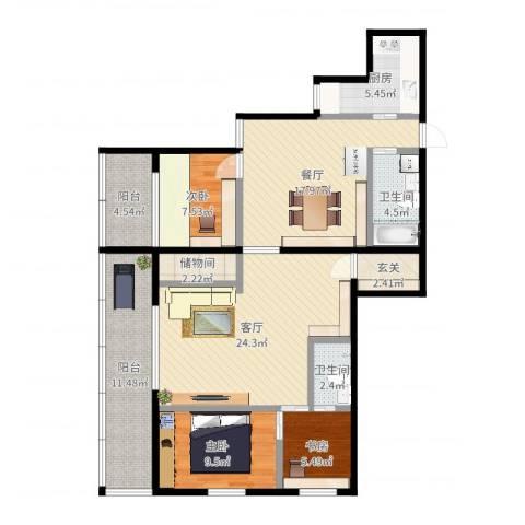 双紫小区3室2厅2卫1厨122.00㎡户型图
