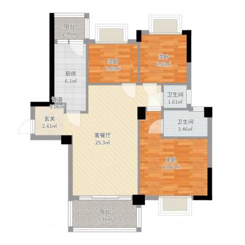 帝景名筑3室2厅2卫1厨88.00㎡户型图