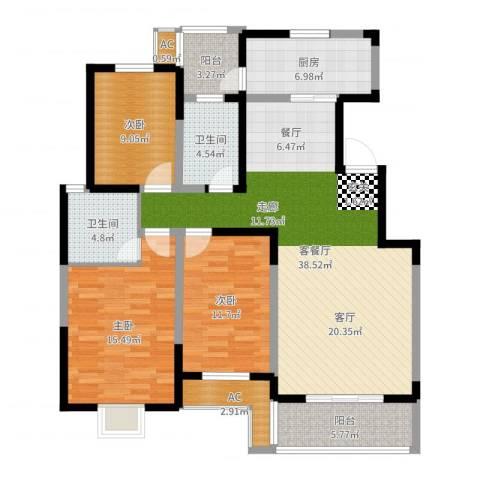天久一品3室2厅2卫1厨129.00㎡户型图