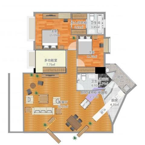 同济广场2室2厅2卫1厨134.00㎡户型图