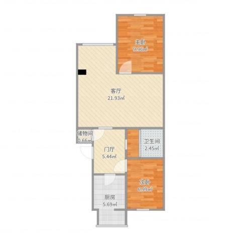 三合南里2室1厅1卫1厨68.00㎡户型图