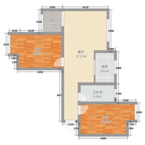 雀梅花园2室1厅1卫1厨83.00㎡户型图