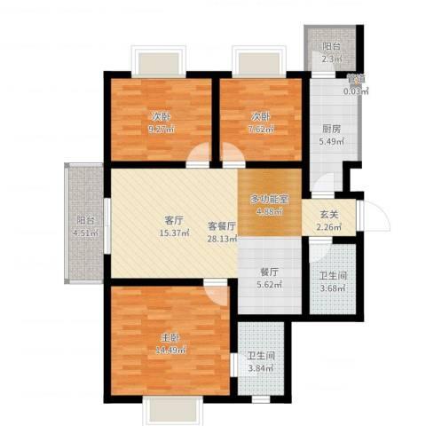 富水一方3室2厅2卫1厨99.00㎡户型图