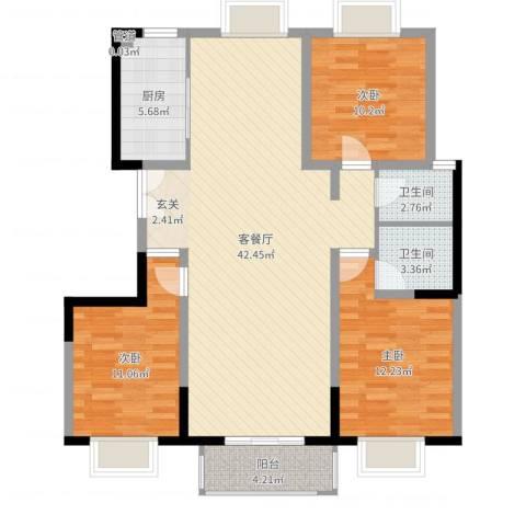 世纪康城3室2厅2卫1厨115.00㎡户型图