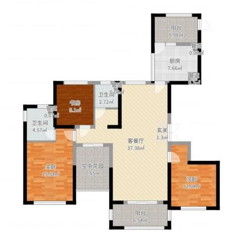 天慧紫辰阁3室2厅2卫1厨136.00㎡户型图