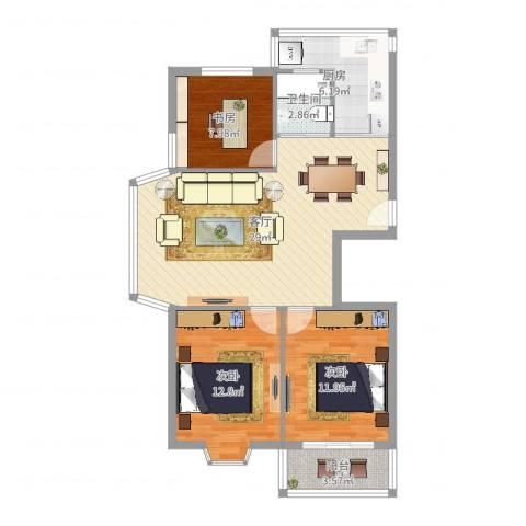 新天地西区3室1厅1卫1厨93.00㎡户型图