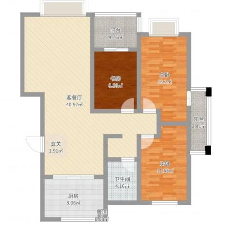 渤海花园3室2厅1卫1厨119.00㎡户型图