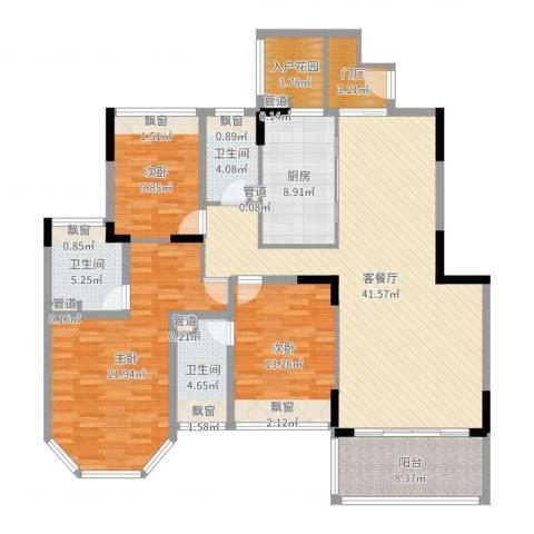 御泉山3室2厅3卫1厨157.00㎡户型图