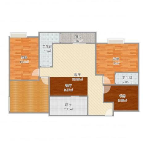 协诚中心大厦公寓3室1厅2卫1厨130.00㎡户型图