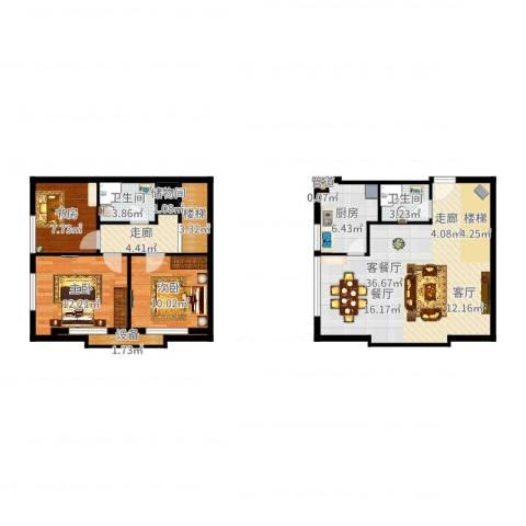 滨海浙商蓝庭国际3室2厅2卫1厨113.00㎡户型图