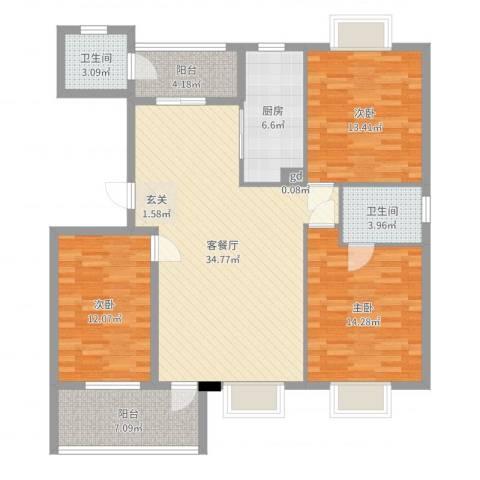 诚诺山庄3室2厅2卫1厨124.00㎡户型图