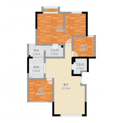 竹韵山庄3室1厅2卫1厨119.00㎡户型图