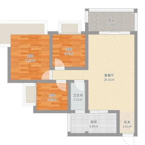 中澳新城御湖居3室2厅1卫1厨80.00㎡户型图