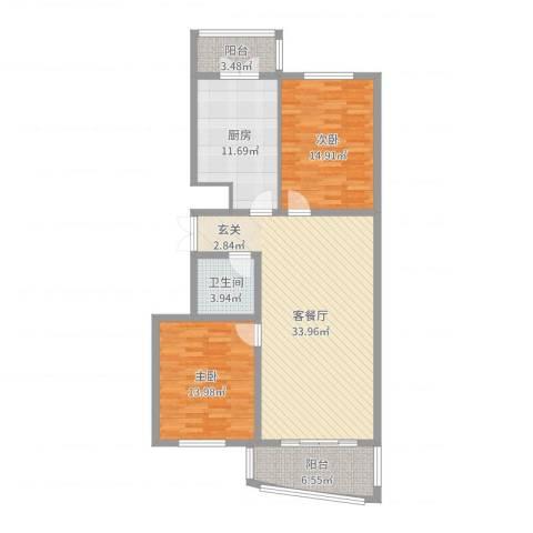 新天地家园2室2厅1卫1厨111.00㎡户型图